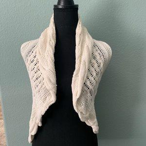 Cream knit or crochet vest by forever 21